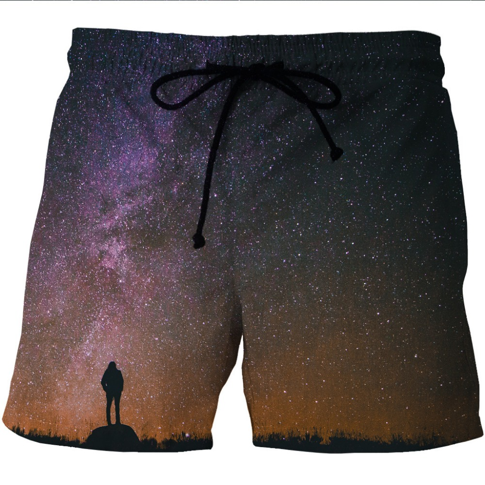 Summer Mans Beach Shorts Water Sports Loose Running Pants Space Print Galaxy Surfing Shorts Oversized Male Swim Surf Boardshort