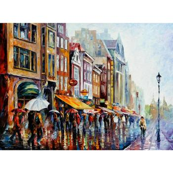 beautiful landscape Paintings amsterdams rain street palette knife oil painting On Canvas Modern Hand painted High quality
