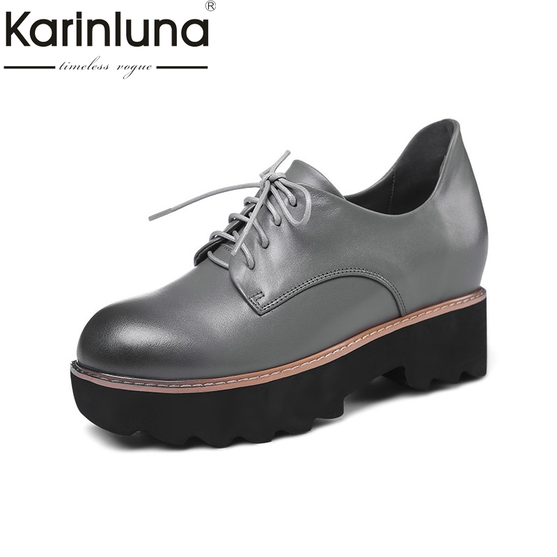 KarinLuna 2018 Spring Autumn Fashion Genuine Leather Women Flat Platform Shoes Woman lace-up Mixed Color Height Increasing brand new spring shoes woman genuine leather fashion lace up women flat shoes casual platform shoes women