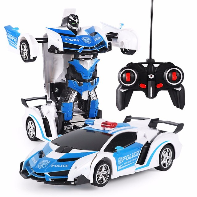 RC Police Toy Car Transformation Robots Sports Vehicle Model Robots Toys Cool Deformation Car Kids Toys Gifts For Boys