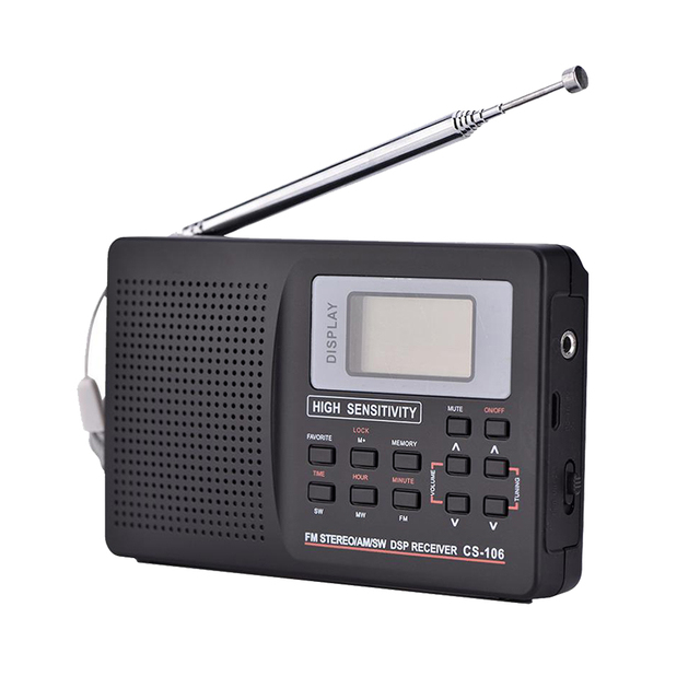 F-01 Mini Portable Radio Receiver Support FM/AM/SW/LW/TV Sound Full Frequency Radio Receiver Support Alarm Clock for Elderly
