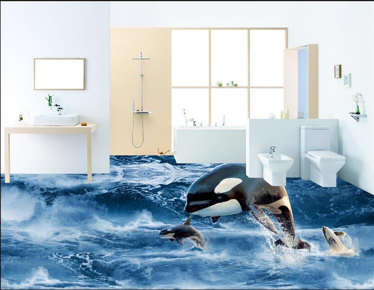 ФОТО 3d floor murals waterproof-wallpaper-for-bathroom custom wallpaper Marine Dolphins 3d floor tiles self adhesive wallpaper