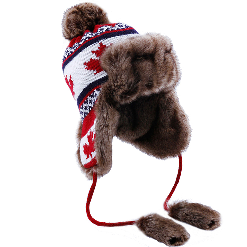 Bomber Hat Women Winter Wool Knitted Snow Hats Pom Pom Maple Leaf Trapper Aviator Cap Fox Fur Earflaps Fleece Russian Ushanka
