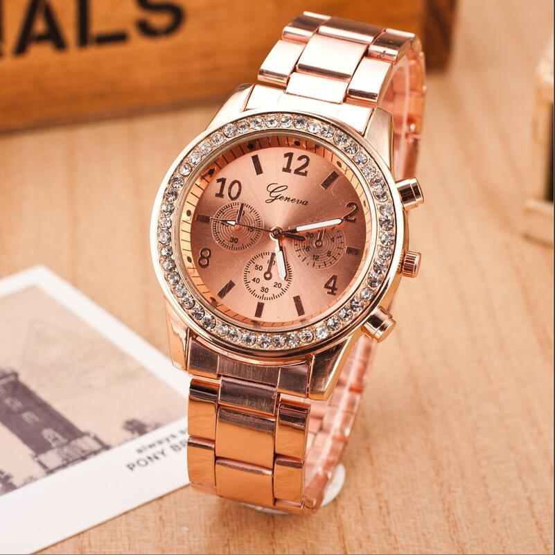 Women Watches 2020 Top Rosy Gold Crystal Quartz Watch Women Full Stainless Steel Watches Relogio Feminino Ladies Wrist Watch Hot