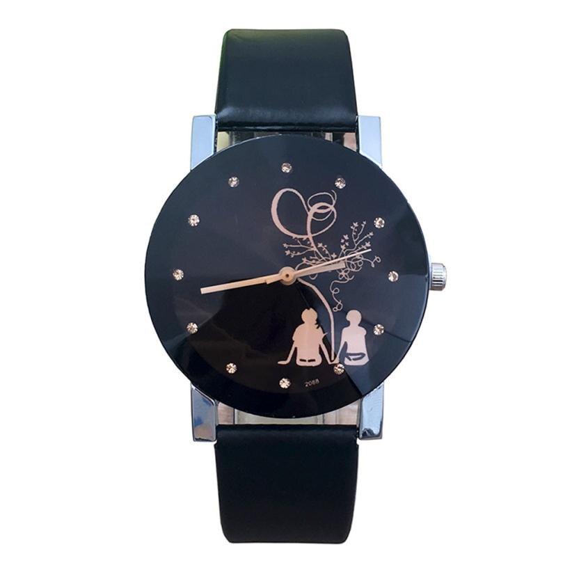 1 пара для мужчин и женщин Студенческая пара стильные Spire стеклянные кварцевые часы с ремешком наручные часы для влюбленных часы для женщин мужчин DE28 Прямая - Цвет: Women