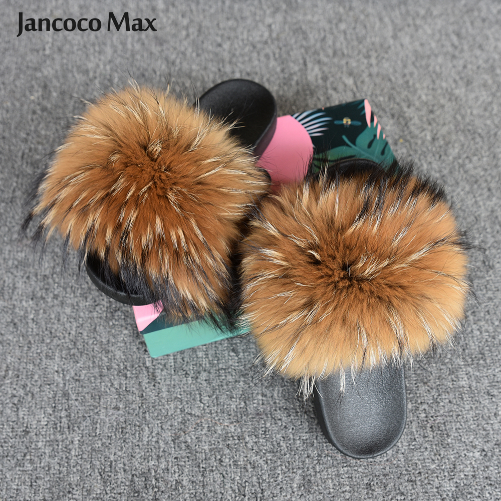 Shoes Women Fashion Slides Real Raccoon Wide Fur Slipper Summer Indoor Fluffy Fur Sandals S6020W