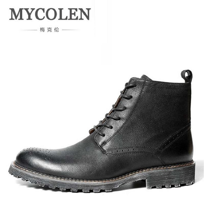 MYCOLEN Genuine Leather Lace Up Round Toe Work Safety Boots Comfortable Ankle Martin Boots Mens Winter Riding Boots Askeri Bot lozoga genuine leather mens fur winter boots high quality male work & safety boots lace up handmade brand boots ankle keep warm