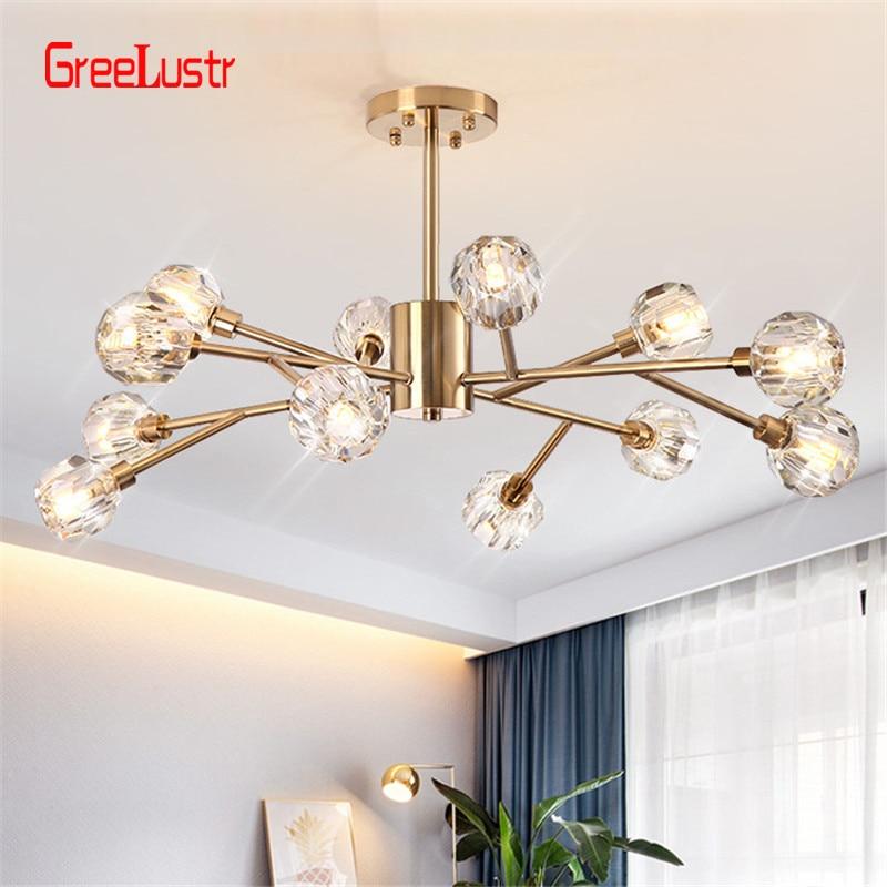 2019 Nuova sfera di cristallo di Illuminazione a soffitto Oro branch design lustri lampada da soffitto per soggiorno sala da pranzo di cristallo apparecchi di illuminazione