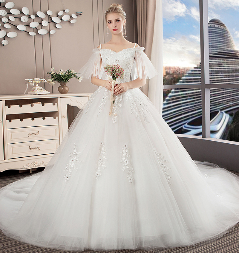 Boat Neck Princess Wedding Dress 2019 Luxury Cathedral