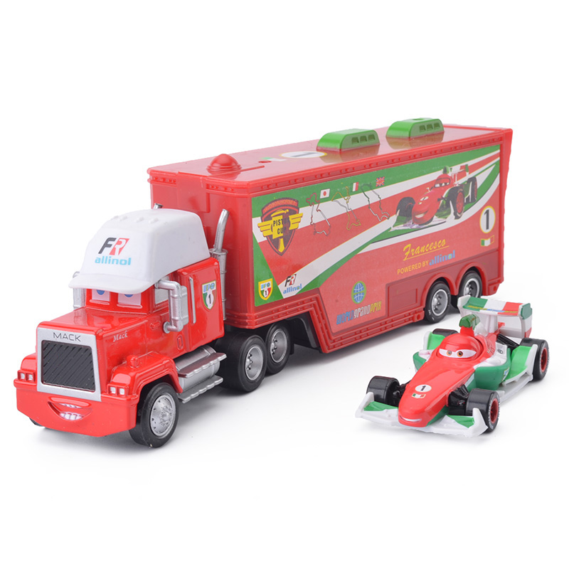 Disney Pixar Cars 3 2pcs Francesco Lightning McQueen Uncle Container Truck 1:55 Diecast Metal Modle Birthday Gift Toy For Kid