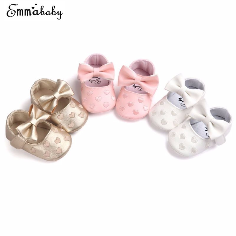 Newborn Toddler Girls Crib Shoes Leather Heart Pattern  Baby Bowknot Soft Sole Prewalker Sneakers Shoes For Girl