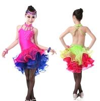 Professional Girls Child Open Back Sequin Rhinstone Sexy Dress Tango Samba Competition Performance Latin Dance Dress
