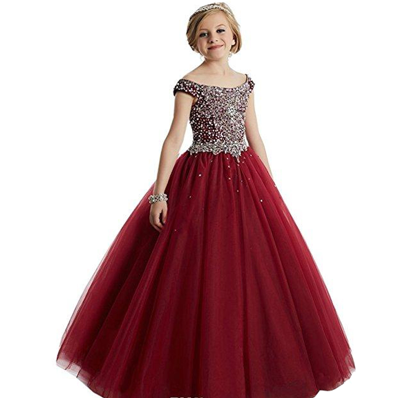 Princess Long   Flower     Girl     Dresses   2019 New Off-the-shoulder Beads Crystals Tulle Ball Gown Kid's Gowns Child Pageant   Dress