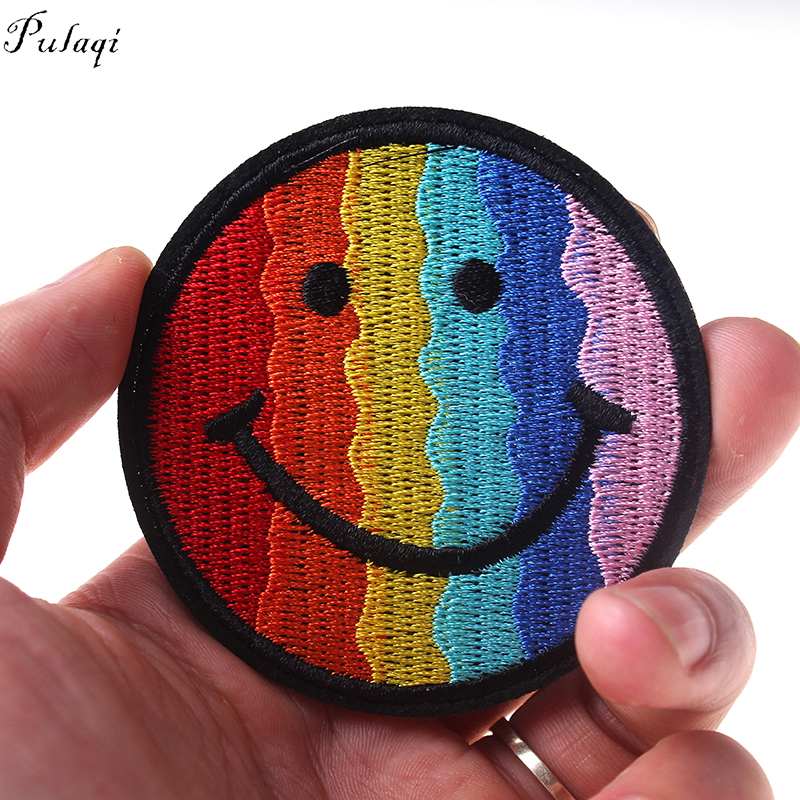 Pulaqi Smile Rainbow Phiz Iron On <font><b>Patches</b></font> For Backpacks Gay Flag Badge For Women Male Gay <font><b>Sex</b></font> Clothing DIY Applique Decoration F image