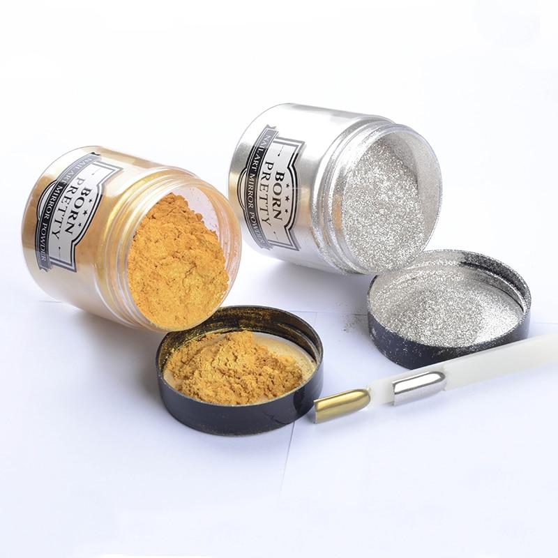 BORN PRETTY 50g Mirror Effect Nail Powder Gold Silver Glitter Nail Art Manicure Chrome Pigment