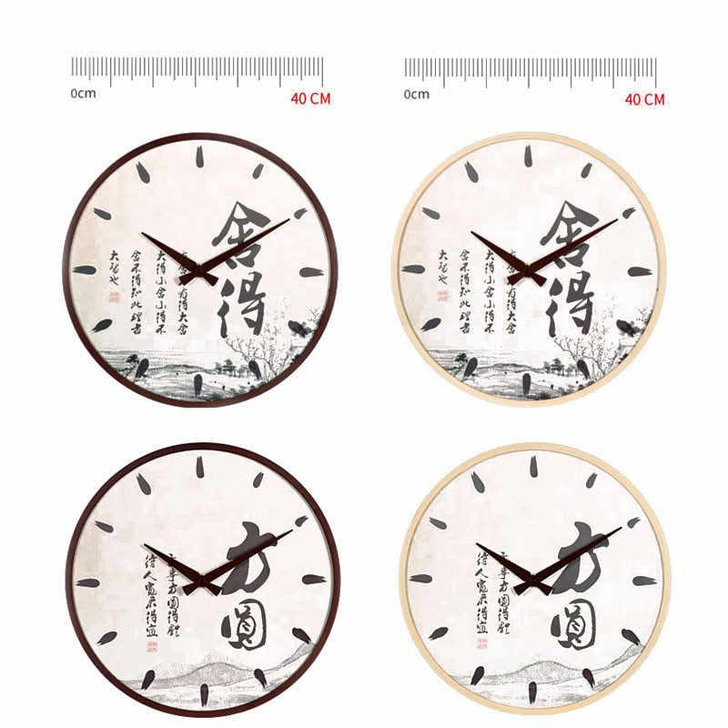Новые Настенные Часы 40 см деревянные круглые Настенные часы для украшения дома бесшумный ход большие настенные часы современный дизайн duvar saati