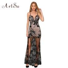 ArtSu Sexy Off Shoulder Gold Sequin Embroidery Elegant Camis Long Dress Party Club Maxi Dresses Women Vintage Vestidos ASDR20013