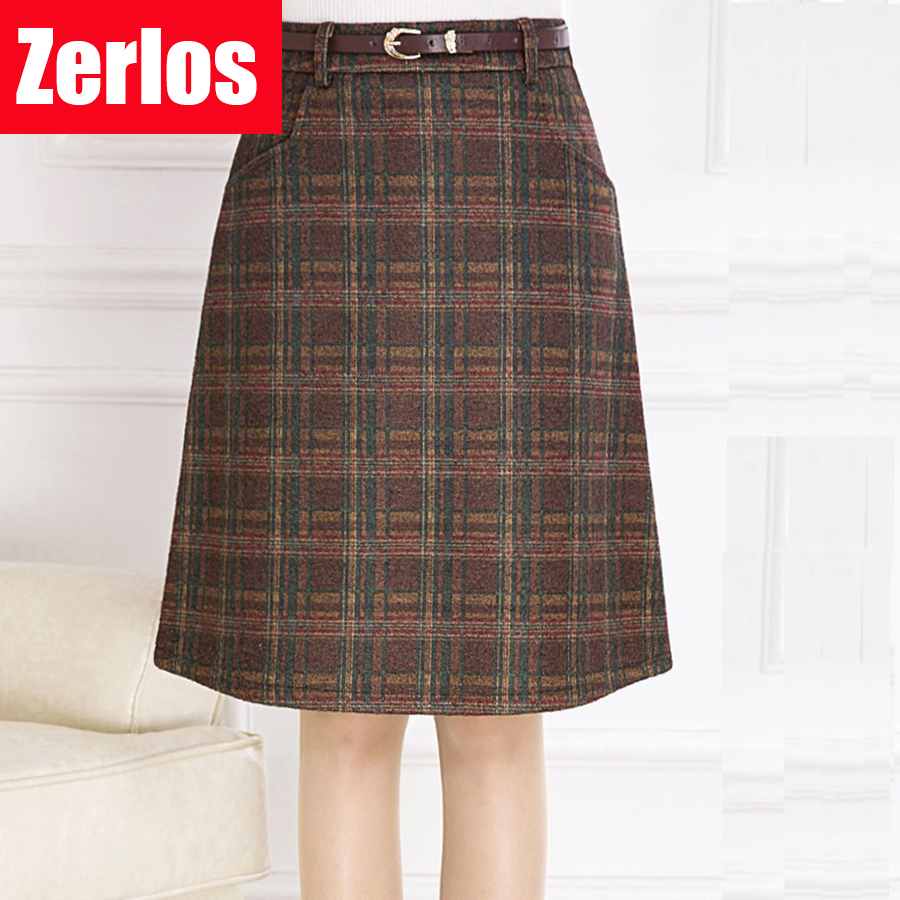 Skirts Womens 2017 spring autumn Woolen Skirt Casual Slim A line Plaid Midi Skirts Female ...