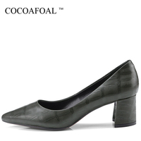 COCOAFOAL Woman Genuine Leather Pumps Plus Size 33 43 Sexy High Heels Shoes Shallow Brown Wedding