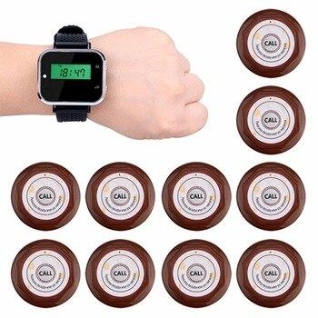 433,92 мГц 1 шт. часы наручные приемник + 10 шт. Водонепроницаемый передатчик вызова и пуговицы Беспроводной Ресторан Вызов Системы клиента Услу...