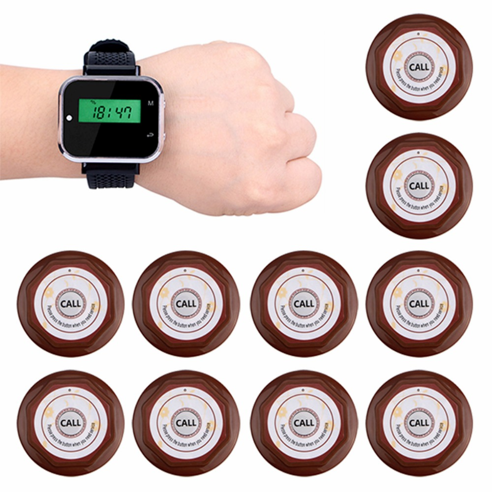 433.92MHz 1pcs Watch Wrist Receiver+10pcs Waterproof Call Transmitter Button Wireless Restaurant Calling System Customer Service wireless table call system monitor bell buzzer used in the cafe bar restaurant 433 92mhz 2 display 1 watch 18 call button