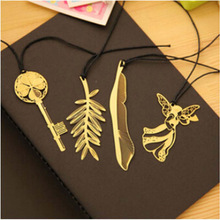Cute Kawaii Gold Metal Bookmark Vintage Key Feather Angel Bookmarks Paper clip for book Korean Stationery Free shipping 829