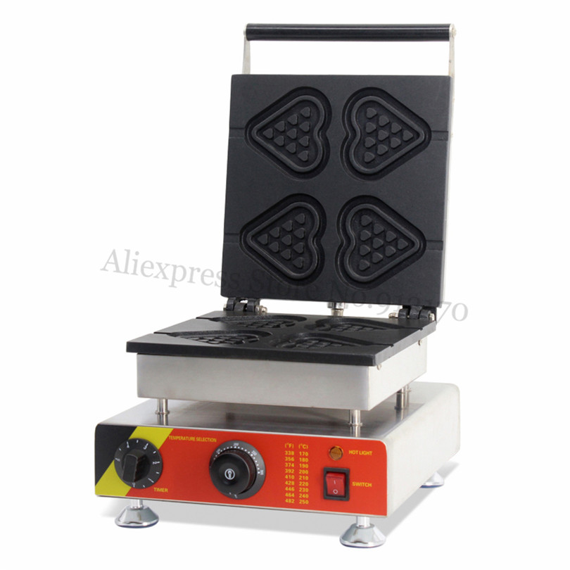 Stainless Steel Heart Lolly Waffle Maker Stainless Steel Heart-shaped Waffle Baker Machine with Timer and Temperature Controller economic and elegance waffle maker machine baker doulbe head electric churros with bar shaped and popsicle