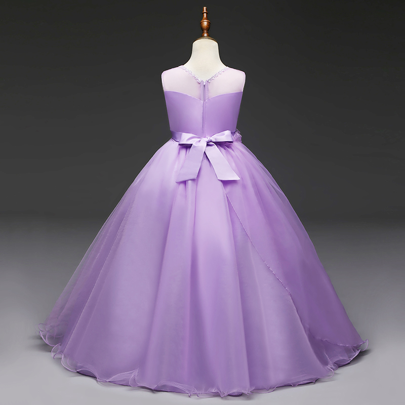 ٩(^‿^)۶Long Gown Children Lace Princess Girl Dress for Wedding ...