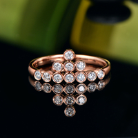 Caimao 0.39ct Bezel Diamond 14K Rose Gold Engagement Wedding Band for Womens