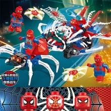 2019 New Marvel Superheroes Sets 6pcs Spiderman Mech Building Blocks Toys Gifts Compatible Avengers Endgame Figures