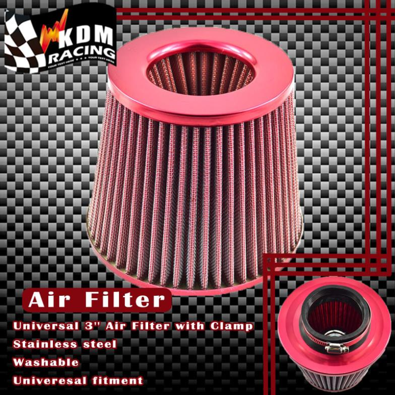 Universal 3'' Inch Car Filter Air 76mm Car Air Filter High Flow Intake Cold Air Turbo Air Cleaner Red Blue Silver Carbon Fiber universal carbon fiber car keyhole decoration ring for volkswagen series silver black blue