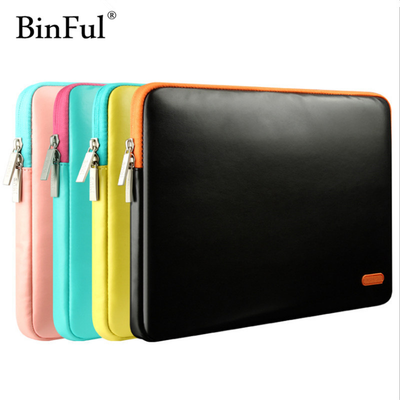 BinFul Laptop Case 11 12 13 15 Leather Ultrabook Bag Women Men Business Laptop Case 13 Yellow Pink Blue Black 13 Bag Ultrabook