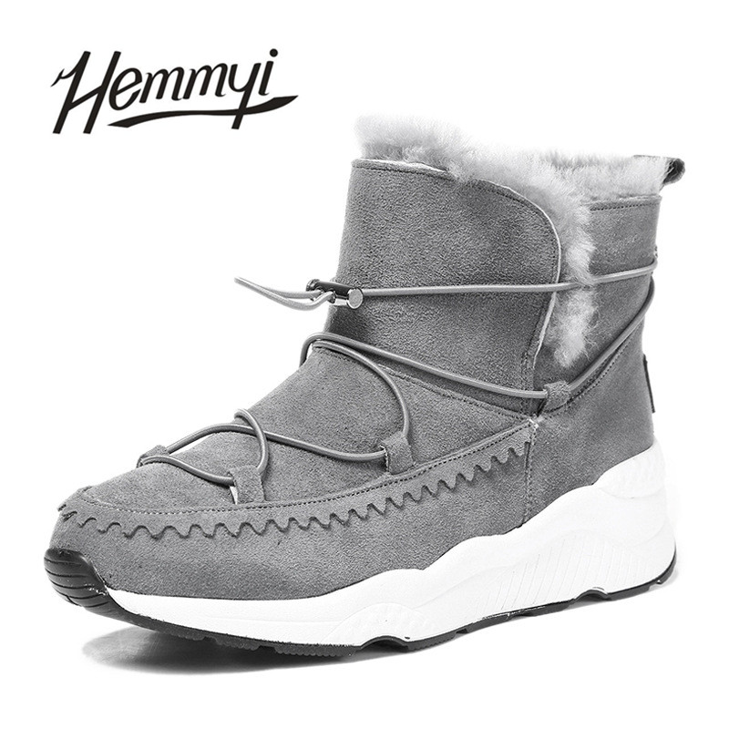 Hemmyi winter new genuine leather sheepskin warm wool ankle boots for women australian style fashion brand snow boots botas