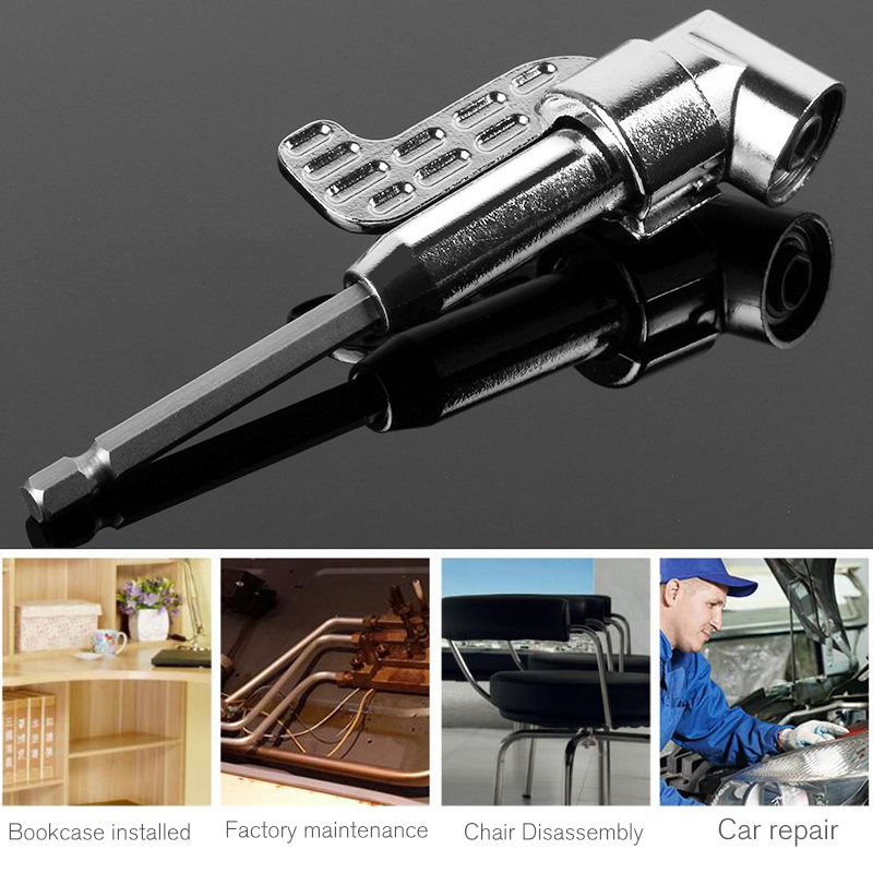 105 Degree Right Angle Drill Extension Shank Quick Change Driver Drilling Screwdriver Magnetic 1/4 Hex Socket Close Corner Tool 105 degree right angle head screwdriver