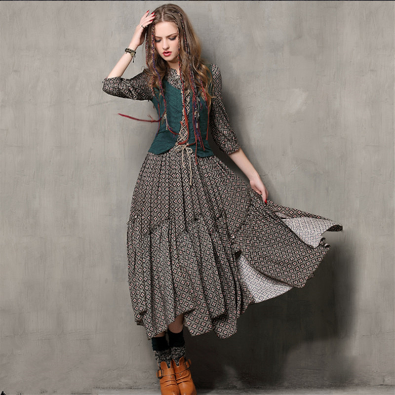סתיו טוניקה Vestidos וינטג מנדרין צווארון כותנה שמלה חצי שרוול A-Line שלושה רובע שרוול מקסי נשים רקמה שמלות