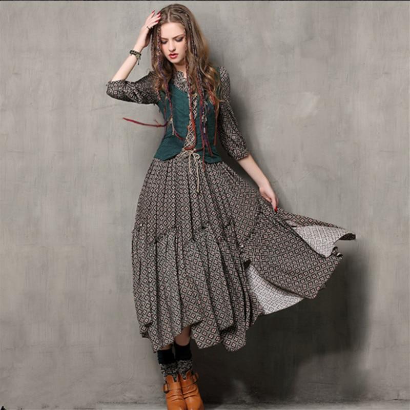 Autumn Tunic Vestidos Vintage Mandarin Collar Cotton Dress Half Sleeve A-Line Three Quarter Sleeve Maxi Women Embroidery Dresses