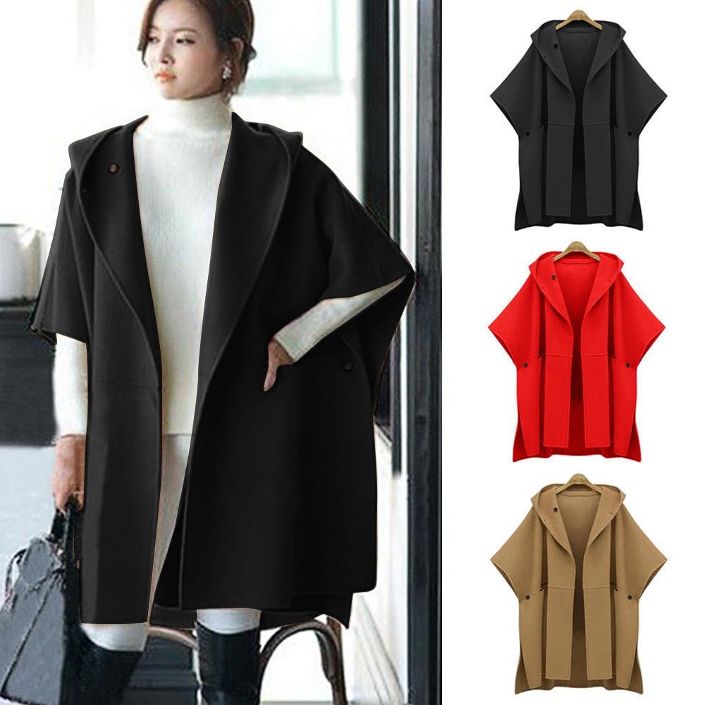 2019 Womens Solid Cloak Plus Size New Fashion Autumn Winter Loose Batwing Wool Poncho Warm Coat Jacket Cloak Cape Parka Outwear