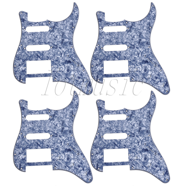 4Pcs Gray Pearl Guitar Pickguard SSH 3-ply 11 Hole For Electric Strat Replacement musiclily 3ply pvc outline pickguard for fenderstrat st guitar custom
