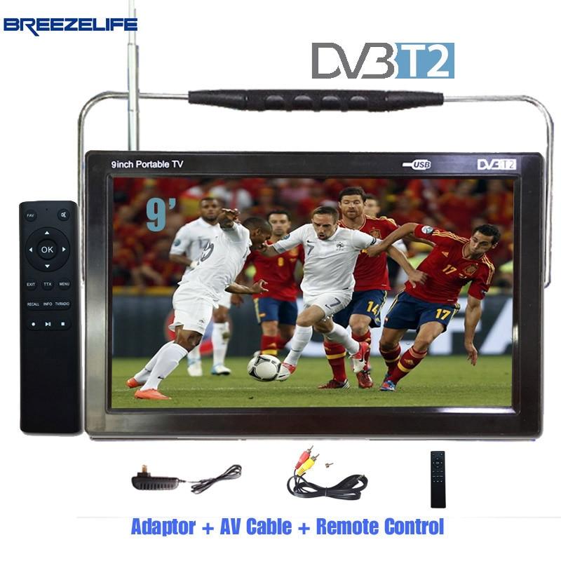 Breezelife TV Portable TV DVBT2 Portable TV 9 inch 10 inch DC12 Digital Portable HD DVBT