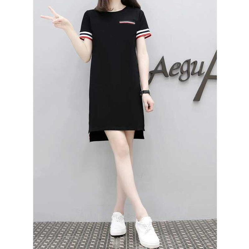 Ladies Summer Casual Dress Women Loose Round Collar T-Shirt Dress Femme Sport Dresses Mini Black Dresses