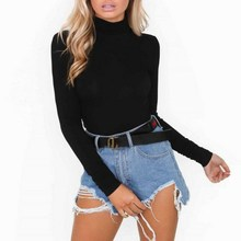 Hot Fashion Turtleneck Bodysuit Women Ladies Slim Stretch Leotard Long Sleeve Bo