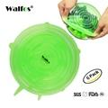Walfos 6 unidades reutilizables cubierta de la tapa de una sartén utensilios de cocina tazón de tapas de silicona-estiramiento elástico de Alta Calidad tapa del recipiente de silicona