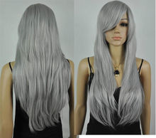 Wholesale heat resistant LY free shipping fashion Gray long straight cosplay wig