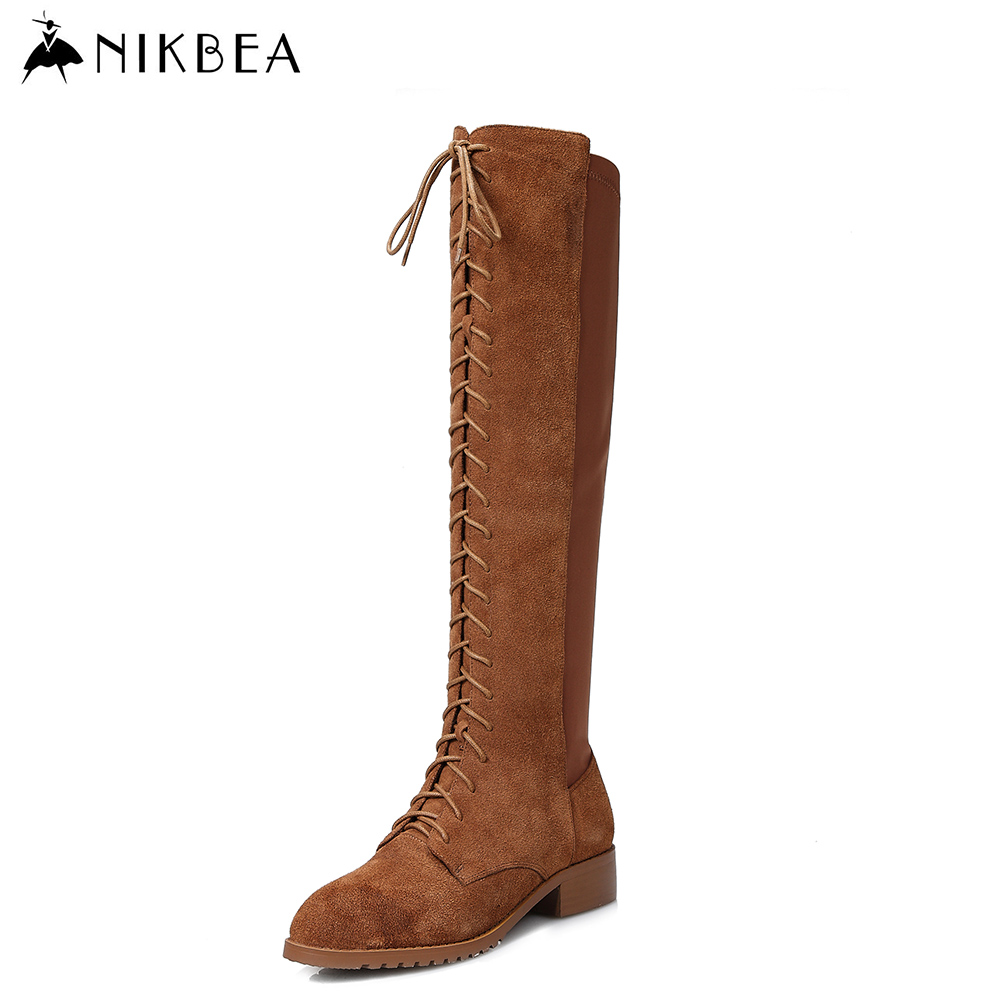 все цены на Nikbea Handmade Sexy Knee High Boots Lace Up Large Size Women Boots Genuine Leather Flat Boots Long 2016 Winter Shoes Booties в интернете