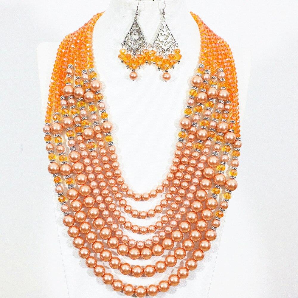Breloques simulées perle Shell perles rondes ensemble de bijoux de mariée fermoir en cristal Orange collier de mariage boucles d'oreilles ensembles bijoux B1301