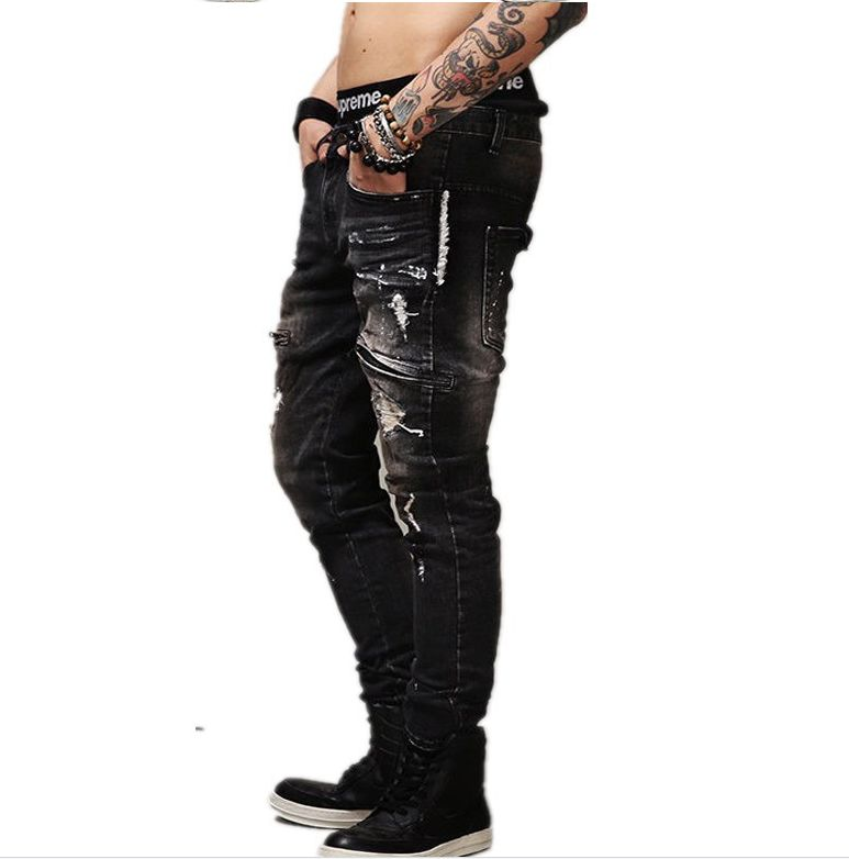 2017 Men's Slim Jeans pants Hip Hop Men Jeans masculina black Denim distressed Brand Biker skinny rock ripped jeans homme 29-40 2017 men s slim jeans pants hip hop men jeans masculina black denim distressed brand biker skinny rock ripped jeans homme 29 40