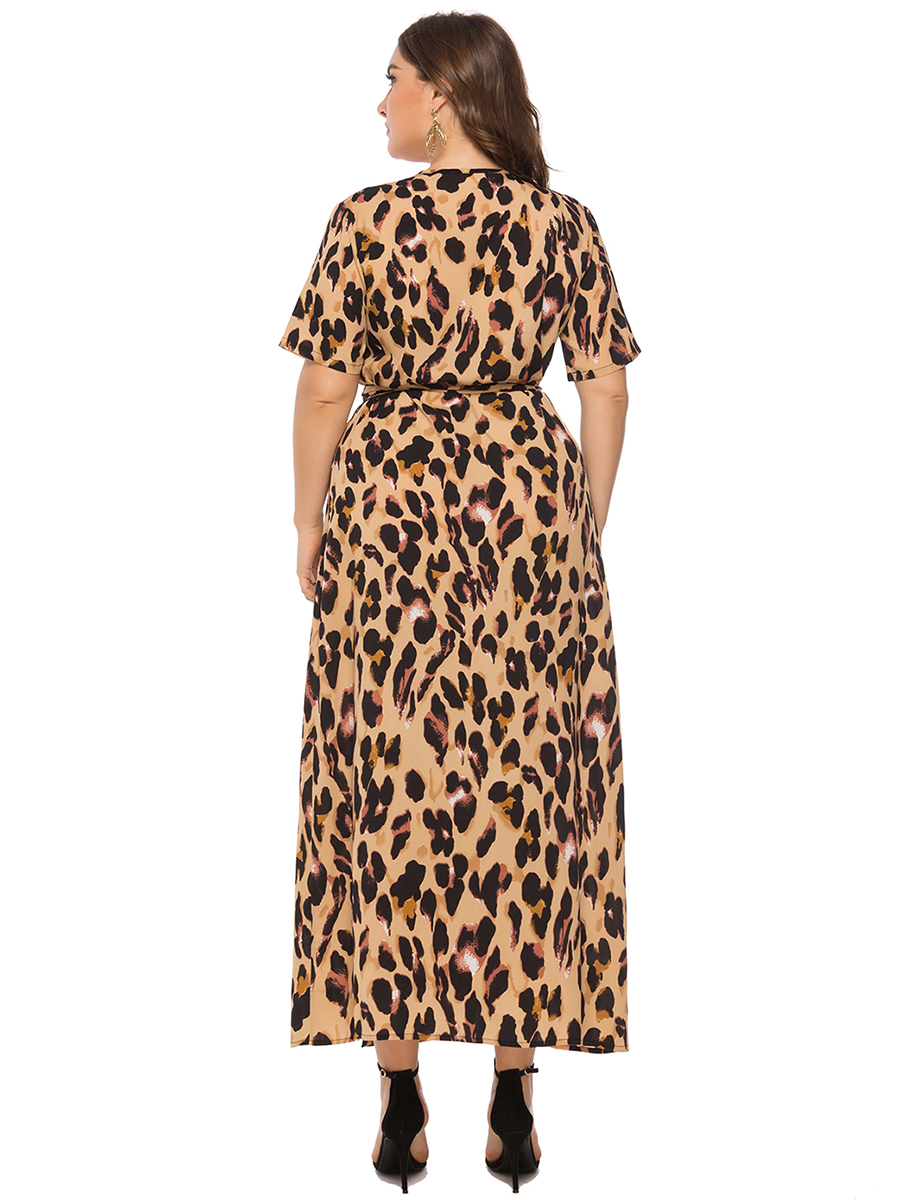 Short sleeve V neck Long dress Yellow Dress Leopard print Summer Women Ladies Plus size Fashionable 2019 Brand new