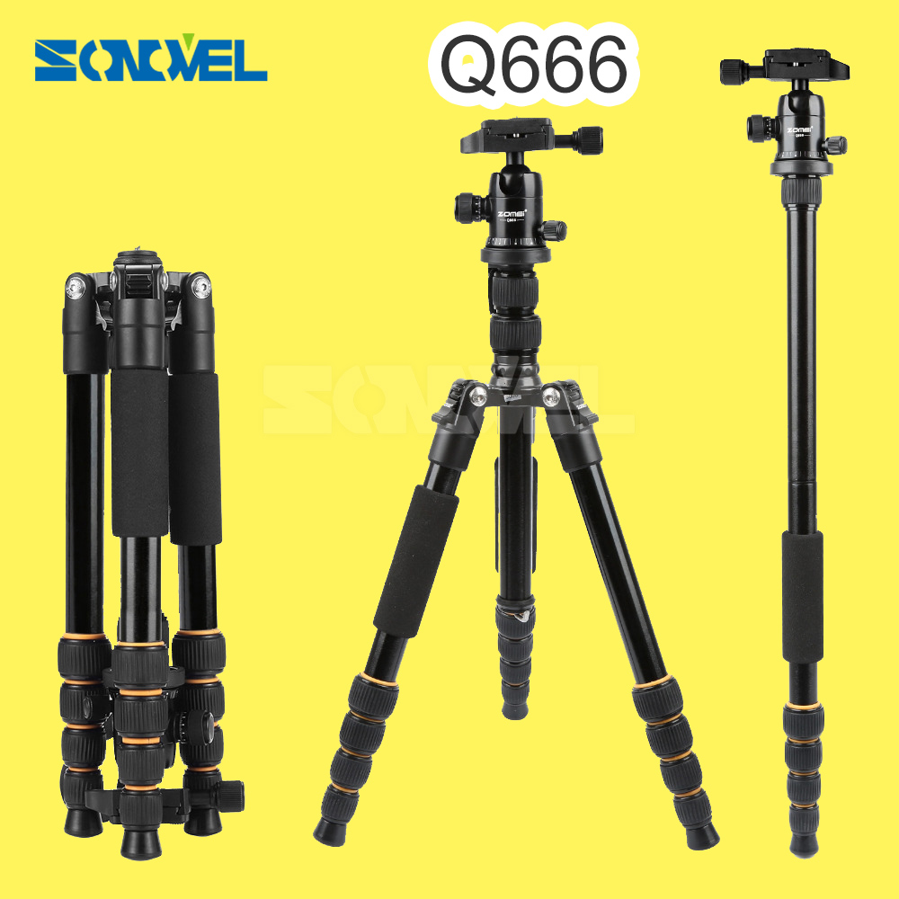 ZOMEI lightweight Portable Q666 Professional Travel Camera Tripod Monopod aluminum Ball Head compact for digital SLR DSLR camera q666 zomei professional magnesium alloy digital camera traveling tripod monopod for digital slr dslr camera