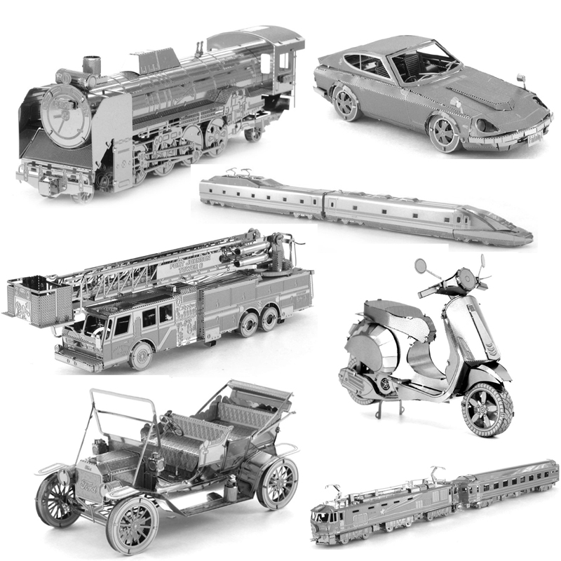 3D DIY Metal Model Jigsaw Puzzle Toys Retro Car Steam Fire Engine Taxi Locomotive Cable Car Assemble Model Toys For Kids Gifts