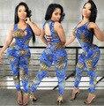 Hot design de moda verão 2015 macacão mulheres mangas sexy macacão novidade impressão macacão